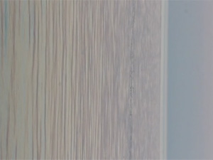 Between: A view of the sea at dawn, sideways on. The sky is soft pink and blue and is reflected in the softly rippling sea.