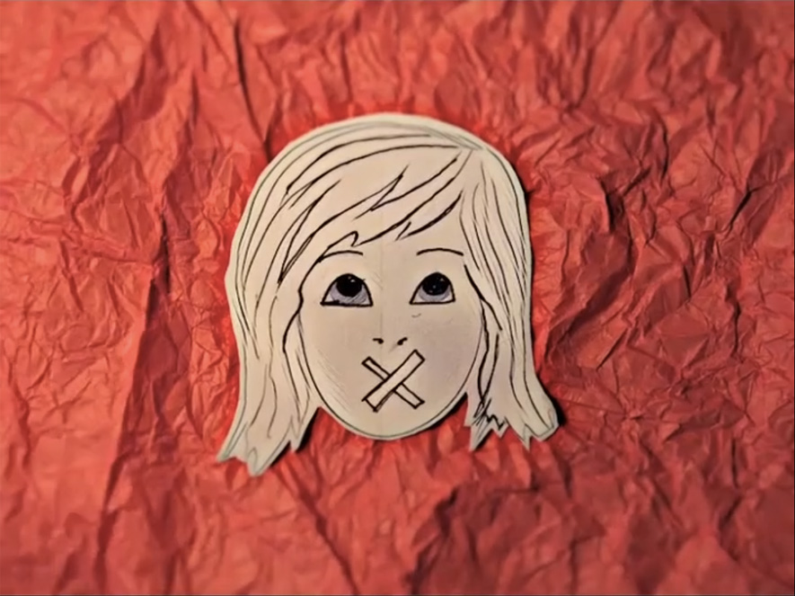 Animation still: red crumpled tissue paper background with a drawing of a small girl with an X over her mouth